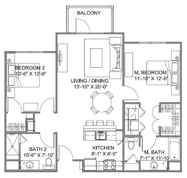 1,026 sq. ft. Promenade C/60% floor plan
