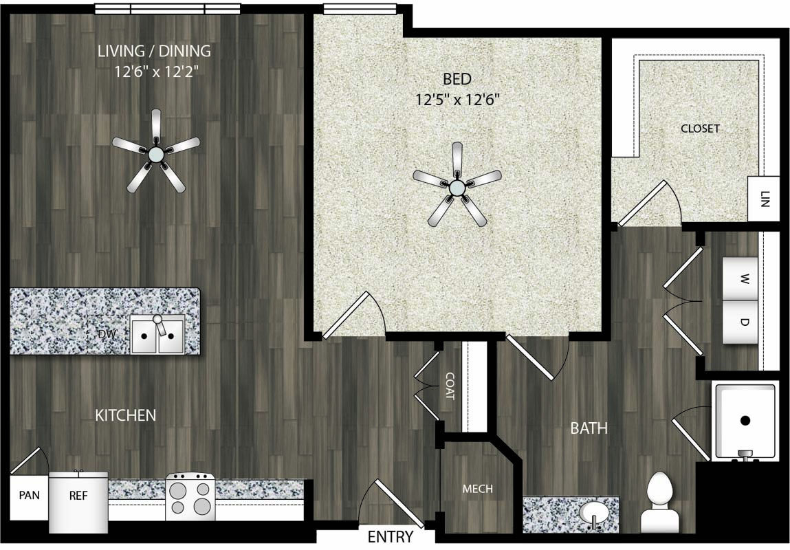 741 sq. ft. A3 floor plan