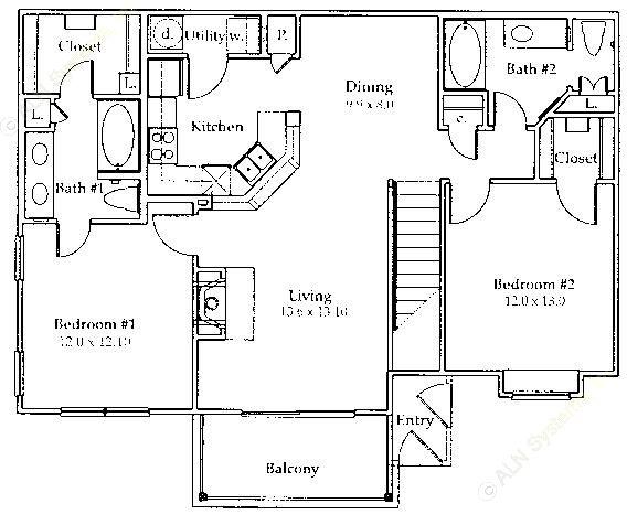 1,110 sq. ft. B2/GAR floor plan