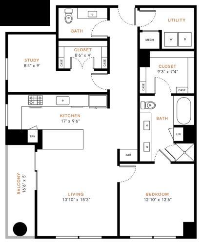 1,243 sq. ft. A8 floor plan