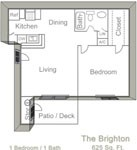 625 sq. ft. BRIGHTON floor plan