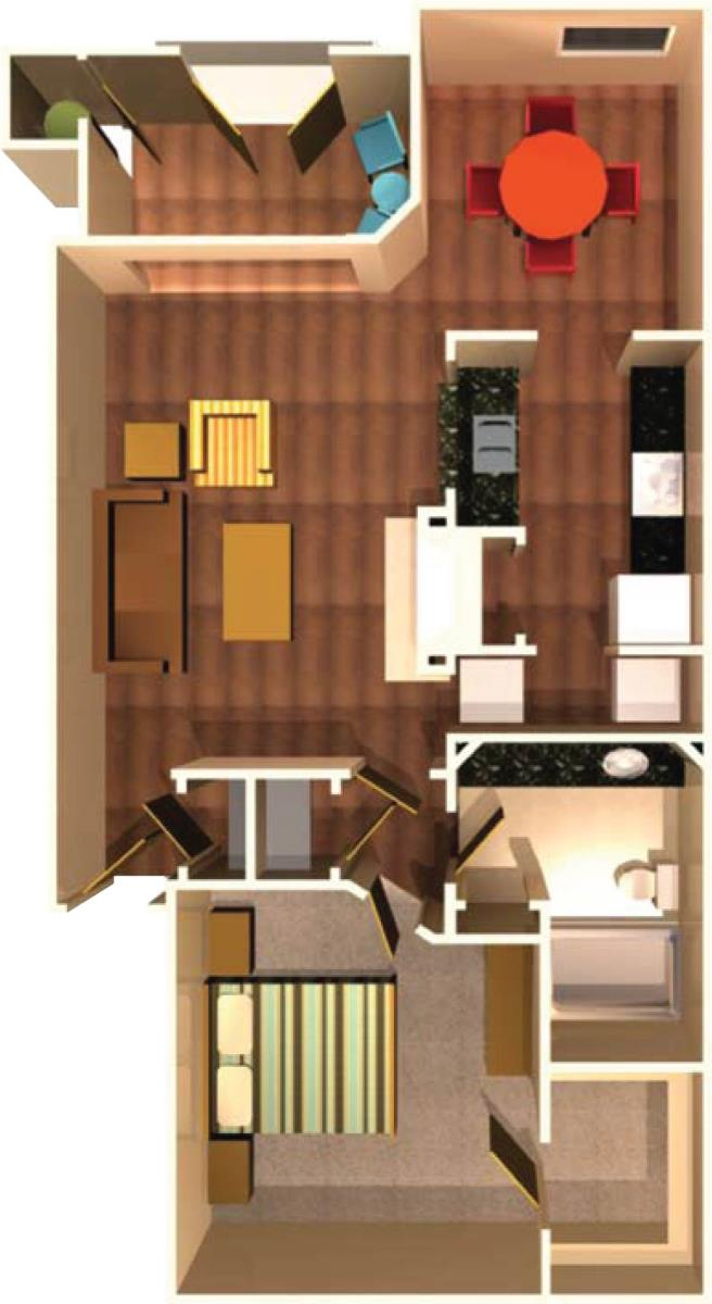874 sq. ft. A6 floor plan