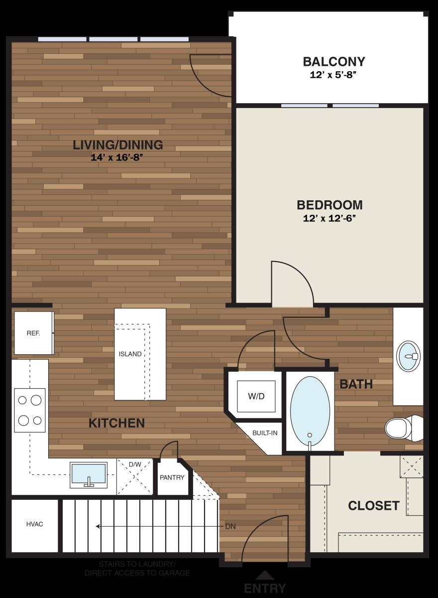 799 sq. ft. A6 floor plan