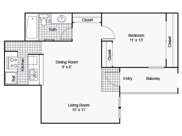 625 sq. ft. I A-2 floor plan