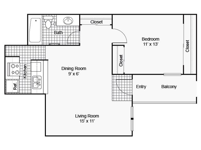 625 sq. ft. I A-2 floor plan