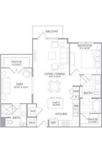 1,053 sq. ft. A5 floor plan