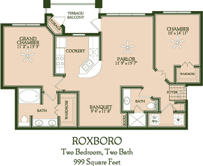 999 sq. ft. Roxboro floor plan