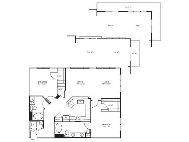 1,272 sq. ft. B6 floor plan