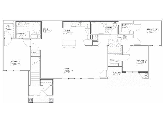1,350 sq. ft. Taino-60% floor plan