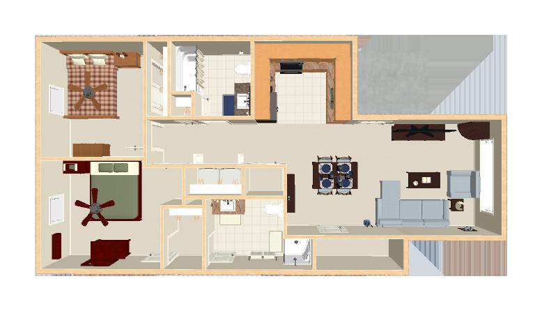 950 sq. ft. Mkt floor plan