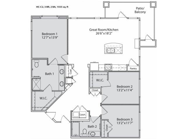 1,415 sq. ft. HC-C2 floor plan