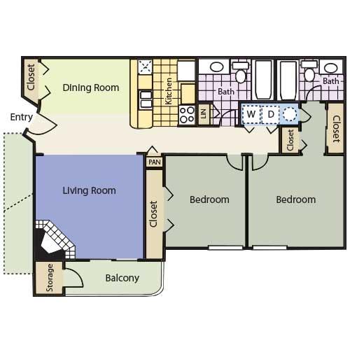 1,032 sq. ft. Kenneland floor plan