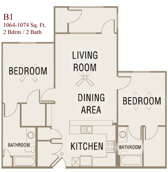 1,064 sq. ft. to 1,074 sq. ft. B1-50 floor plan