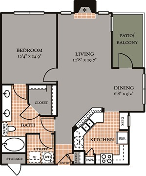 861 sq. ft. A3 floor plan