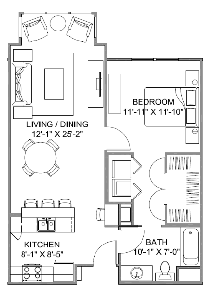 778 sq. ft. Avenue C/60% floor plan