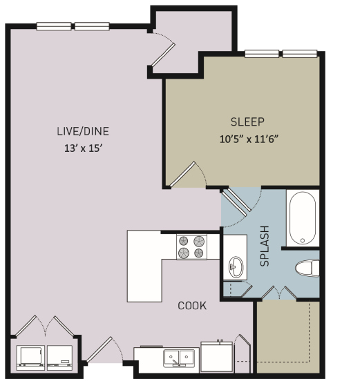 822 sq. ft. A7 floor plan