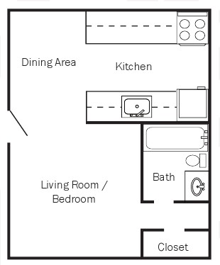 490 sq. ft. PLAN 1 floor plan