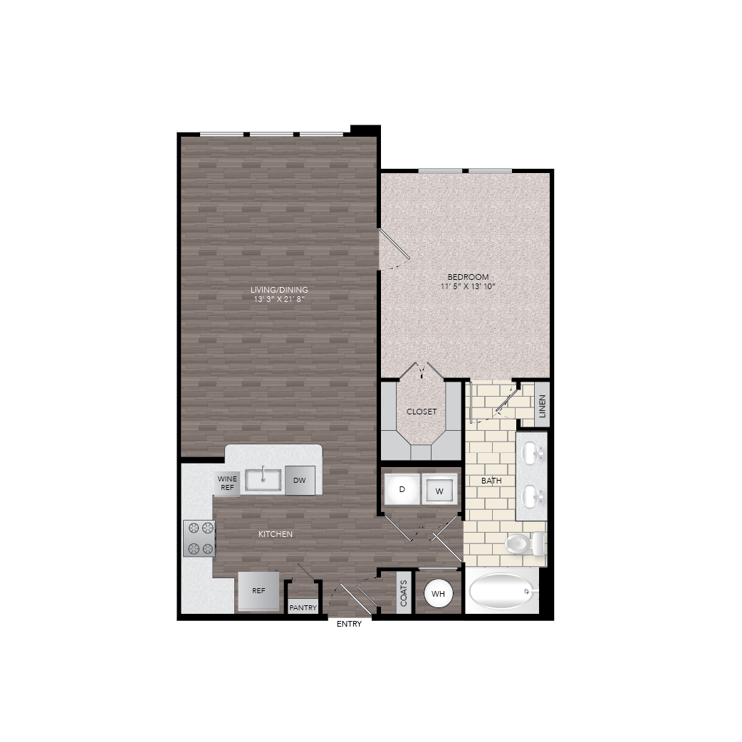 841 sq. ft. A7A floor plan