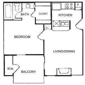 648 sq. ft. A4 floor plan