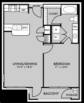 675 sq. ft. to 693 sq. ft. A1 floor plan