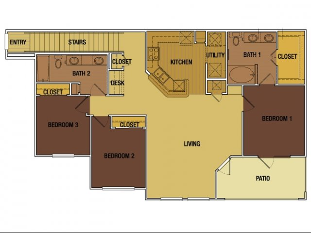 1,311 sq. ft. Juan Seguin floor plan