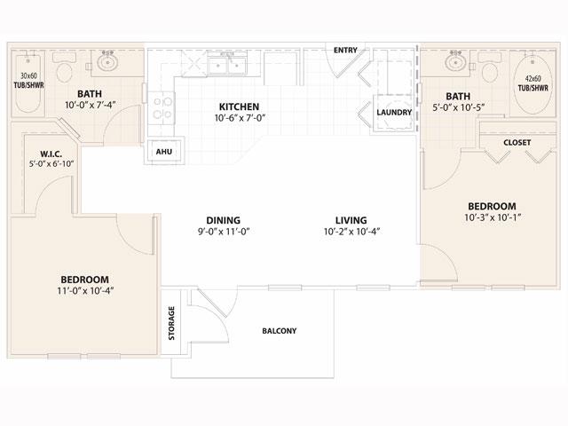 849 sq. ft. Jasmine 60% floor plan