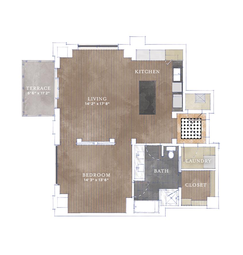 967 sq. ft. A2.1 floor plan