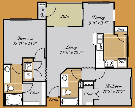 1,074 sq. ft. ROSETTA floor plan