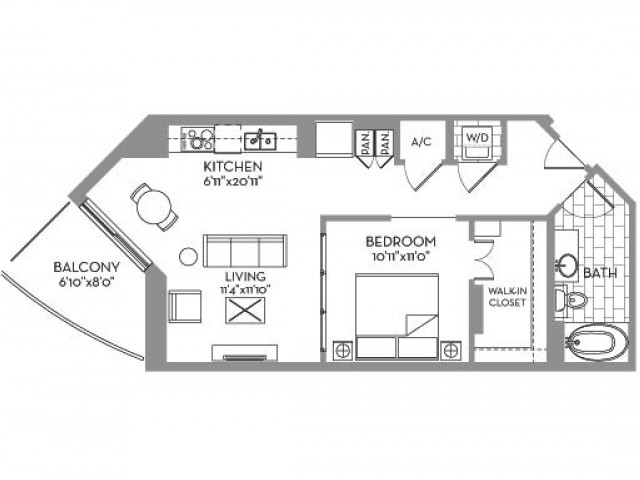 728 sq. ft. Royal(E.3) floor plan