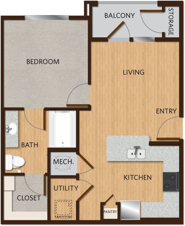 629 sq. ft. A1 floor plan