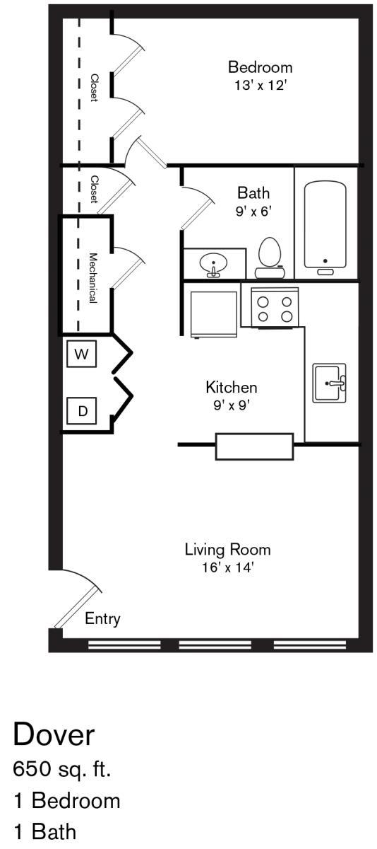 650 sq. ft. Dover floor plan