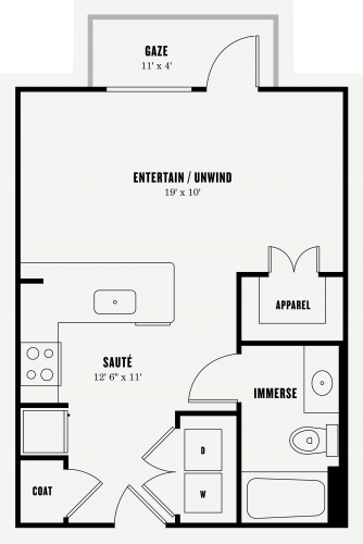 507 sq. ft. E1 floor plan