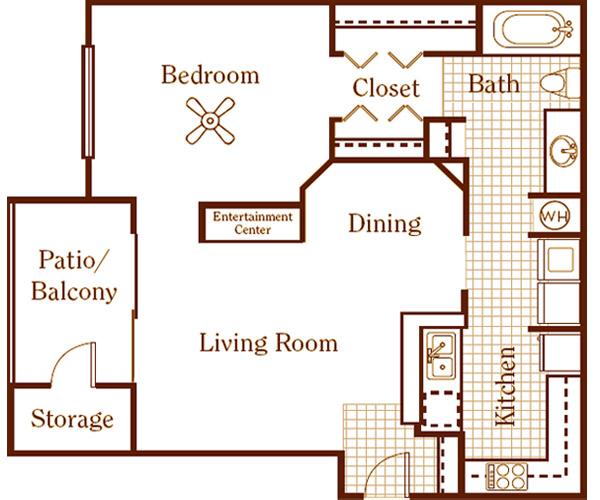 770 sq. ft. floor plan
