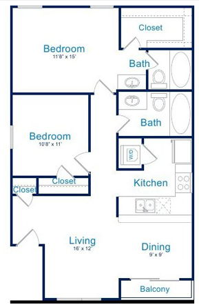 1,000 sq. ft. B1 floor plan