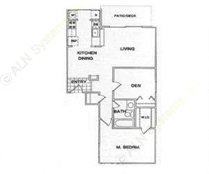 782 sq. ft. B1 floor plan