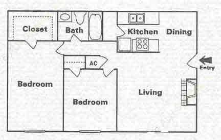 863 sq. ft. B-1 floor plan