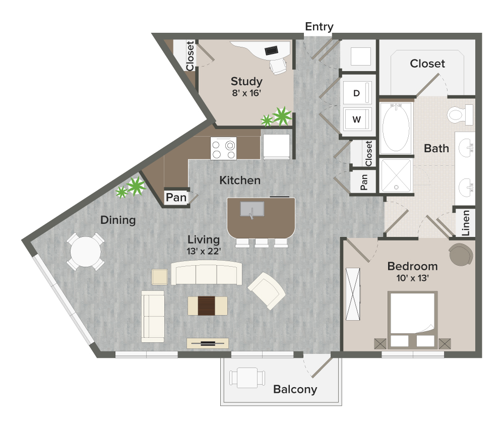 1,010 sq. ft. Milroy-A10 floor plan