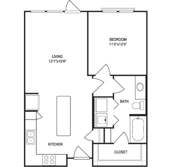 713 sq. ft. floor plan
