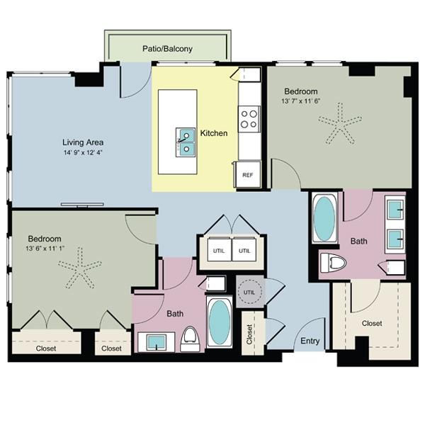1,082 sq. ft. Spring (B2B) floor plan