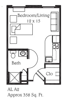 358 sq. ft. A2 floor plan