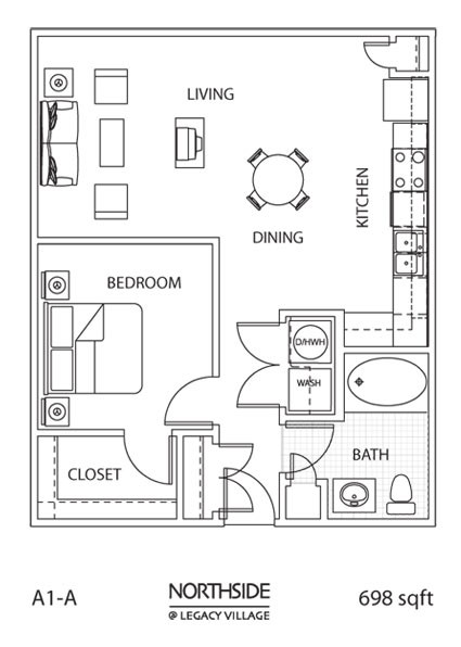 698 sq. ft. A1-A floor plan