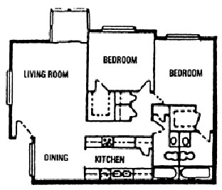 1,130 sq. ft. F floor plan