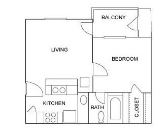 480 sq. ft. A2 floor plan