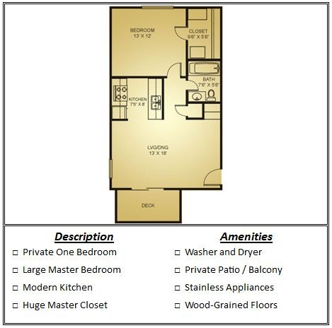 578 sq. ft. Mkt floor plan