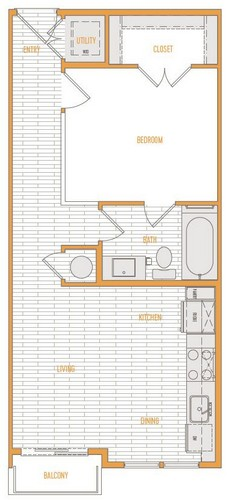 543 sq. ft. A1 Alt 1 floor plan