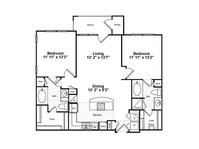 1,018 sq. ft. B12G-1 floor plan