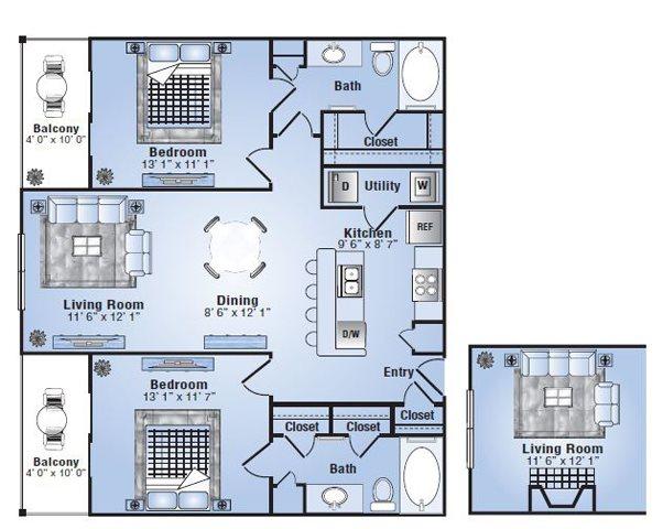 1,013 sq. ft. Laramie floor plan