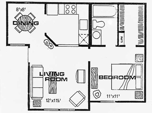 523 sq. ft. K floor plan