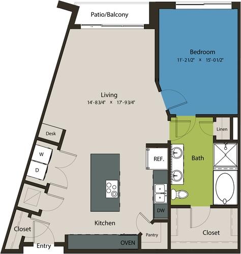977 sq. ft. A10 floor plan