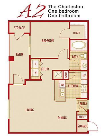 750 sq. ft. A2 floor plan